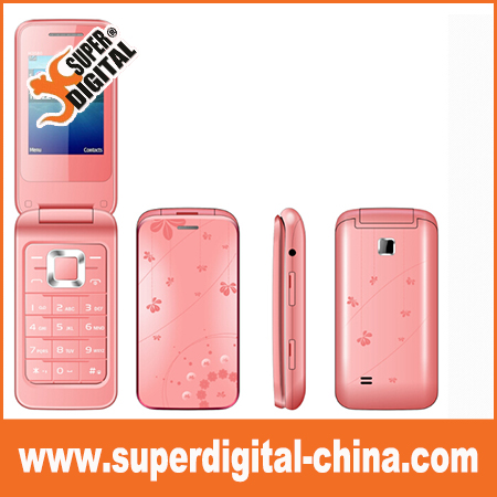 Flip cell phone 2.4 inch with IML Decoration and java