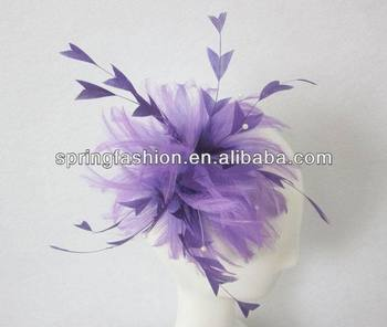 Fashion lilac feather fascinator on comb
