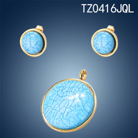 Round shape blue 316L stainless steel jewelry set in stock
