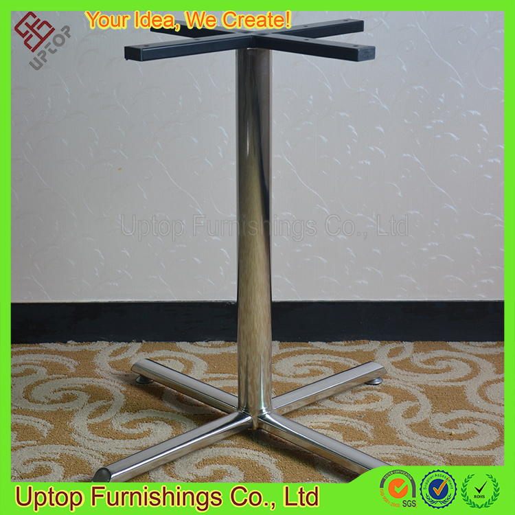 (SP-STL052) high gloss 4 star base round tube steel metal table leg
