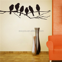 ZOOYOO six Black bird stickers interior house decoration adhesive fabric wall painting (8216)