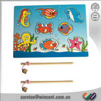 Hot sell educational wooden toy of magnetic fishing puzzle games