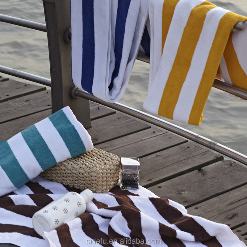 Factory Wholesale 100 Cotton Stripe Blue and White Hotel Pool and Beach Towels