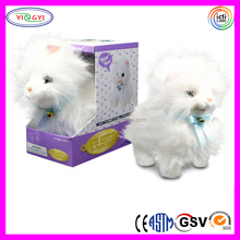 D889 Mechanical Animal Cat Stuffed Soft Long Fur Walking Plush Cat Toy