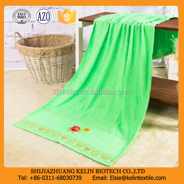 Bright Color Bathroom Accessories zero twist Bath Towel with embroidery