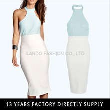 new model low back bodycon dress 2016 halter neck contrast color office dresses for ladies 2016