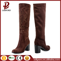 2016 free sample 12 cm thick high heels suede leather new arrival long boots women bulk buy from china winter boots