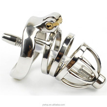 Penis lock Male Stainless Steel Chastity Cage with Penis Plug Catheter Tube