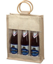 Three Bottle Jute Wine Bags in Natural