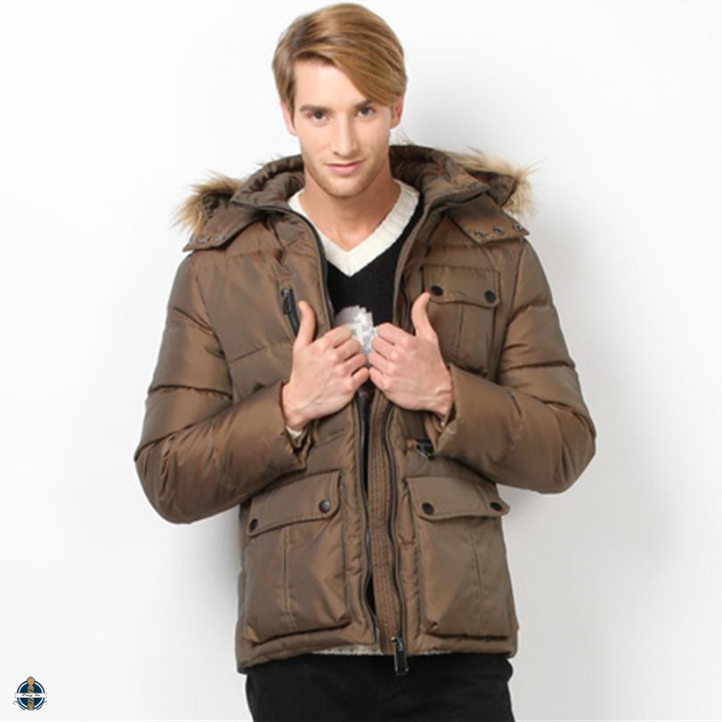 T-MJ503 New Design Men Faux Fur Hooded Big Size Winter Jackets
