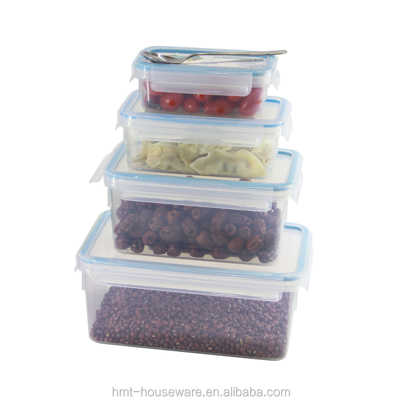 2016 PP wholesale household 1L plastic food container set wholesale candy plastic containers storage 4 side locked lunch box