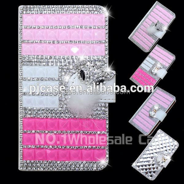 high quality wallet style diamond crystal flip case cover for sony Xperia C5,diamond bling bling case for sony Xperia C5