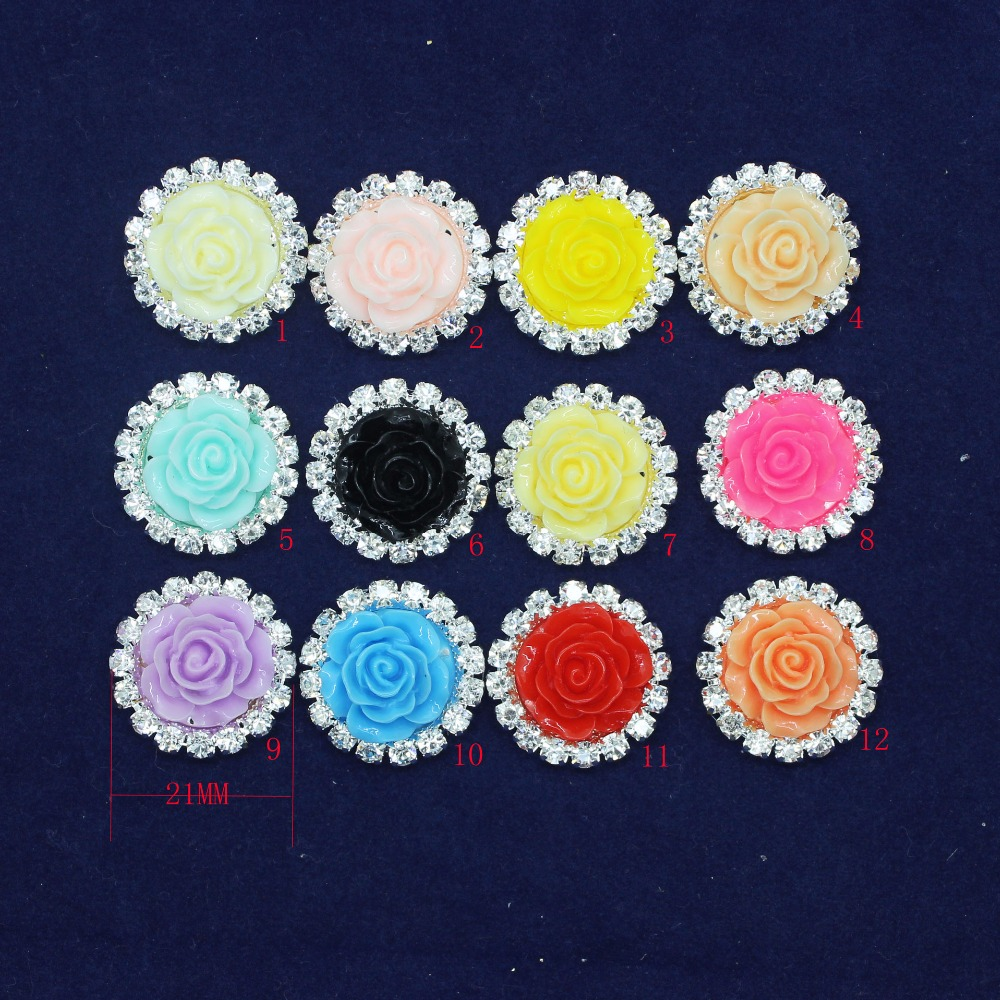 Round Shape Rhinestone Buttons Crystal Buttons Colorful Resin Rose Flower Hair Flower Comb Clip Wedding Invitation