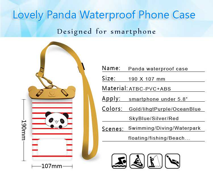 Gift TPU mobile pouch case popular cartoon waterproof dry cell phone bag pvc with ABS clip