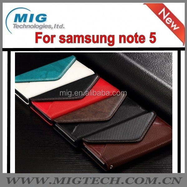 for Samsung galaxy note 5 Genuine Flip Leather Envelope Style Wallet Photo Slots Stand Case Cover For samsung note 5