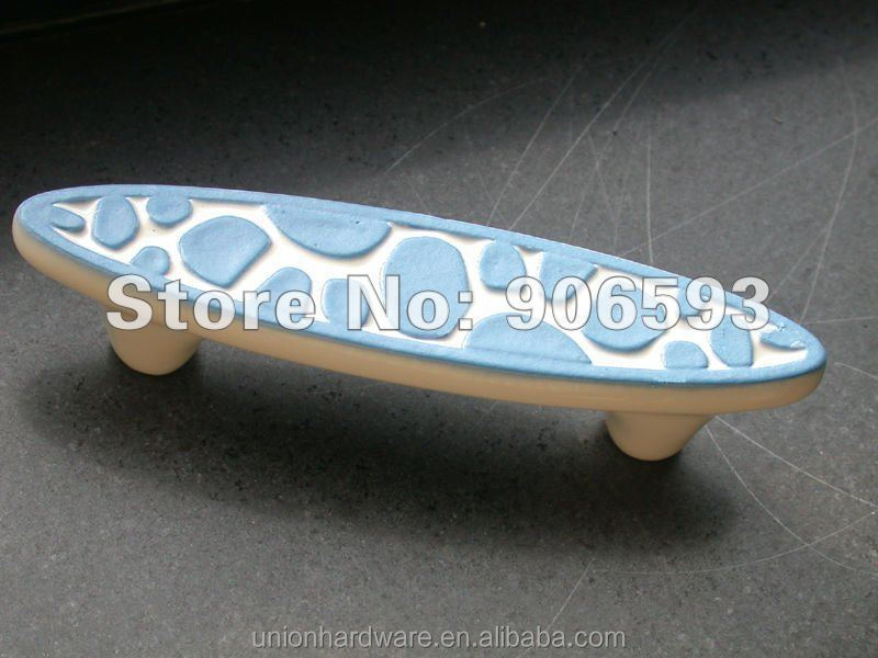 Wholesale Porcelain sweet ocean blue speckle ceramic drawer <strong>handle</strong>,cabinet <strong>handle</strong>