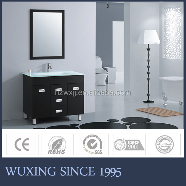 Nice design top modern north American style bathroom cabinet set with glass basin and stainless steel legs