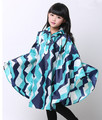 Good quality 100% custom printed polyester kid poncho with hood