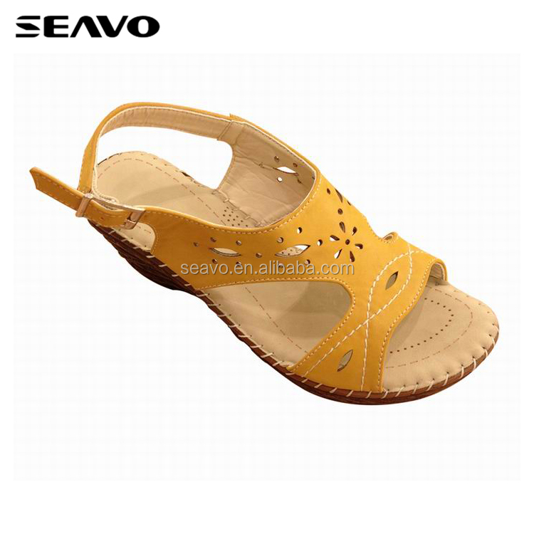 SEAVO SS18 elegant buckle strap yellow sandals shoes for women