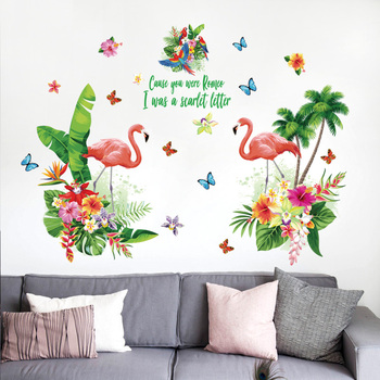 Ins Hot Flamingo Art Vinyl Wall Stickers Quote Living Room Decorative Modern Wall Decal
