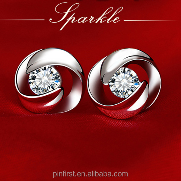 Factory Wholesale S925 Silver 3A cubic zirconia Stud Earrings Fashion Rotating Earrings Anti allergy