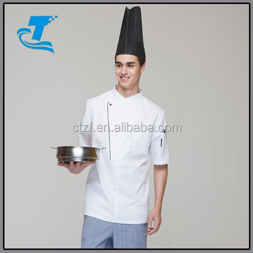 New Restaurant Hotel Kitchen Chef Jackets Coats Uniform Short Sleeves