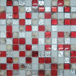 Sea Shell Mix Craft Crackled Red Crystal Glass Mosaic Tile