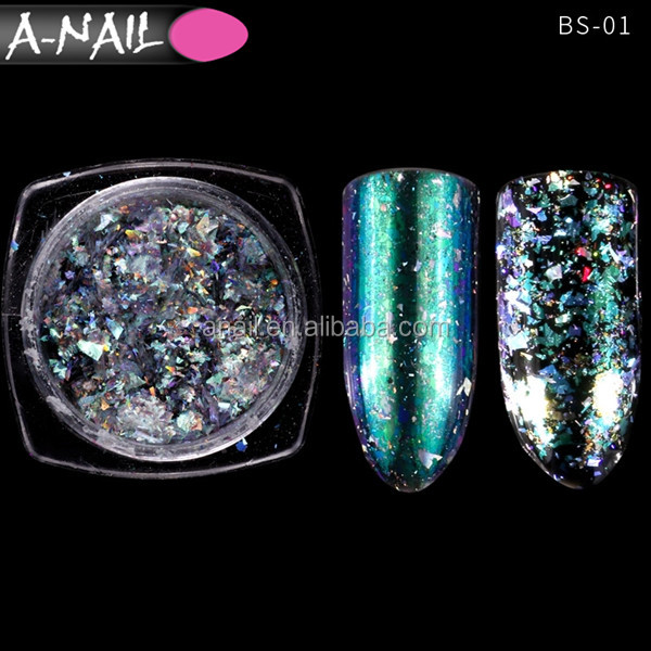 1 Bag Chameleon Laser Nail Glitter Flake 12 Colors Shinning Mirror Nail Pigment Powder with 2 pcs Applicators