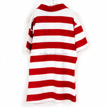 boys collar t-shirt with red and white stripes