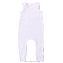 Plain white toddlers clothes sleeveless cotton onesie baby romper