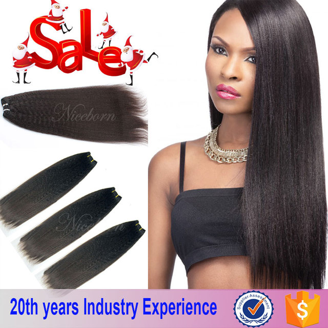 Raw 100% Unprocessed Virgin Peruvian Hair Weave Bundles Yaki Hair 10