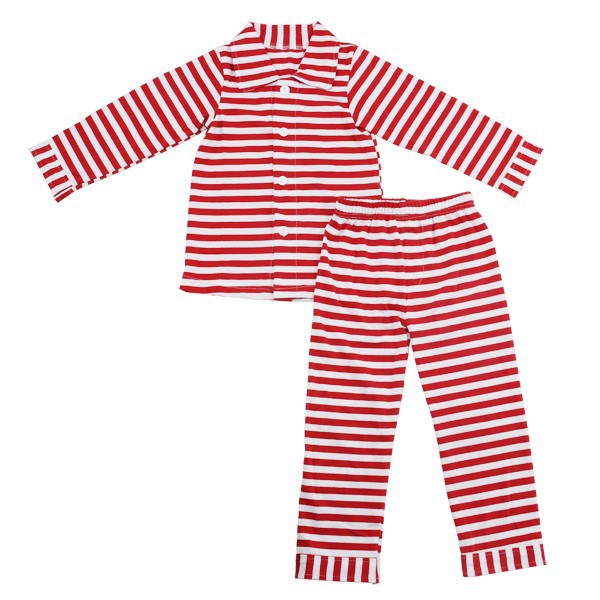 Wholesale top and pants matching clothing children strip christmas design fall winter outfit with button mom adult baby pajamas