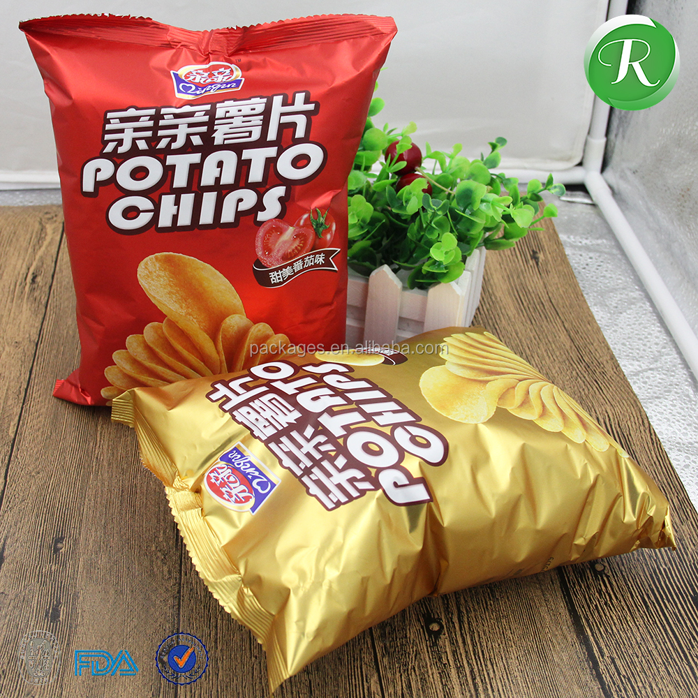 Private label sticker printing potato chips bag food packaging poly bag