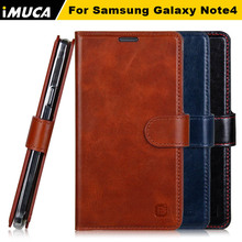 IMUCA real leather case for Samsung galaxy note 4 case NOTE 4 wallet genuine leather case