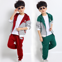 Hot selling korean fashion children clothing cardigan striped pants suit splicing handsome young boys clothing set