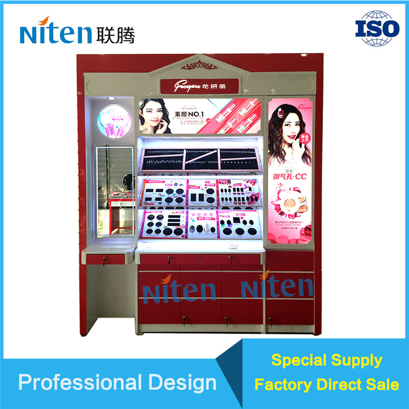 MDF wood cosmetic counter design store display shelf