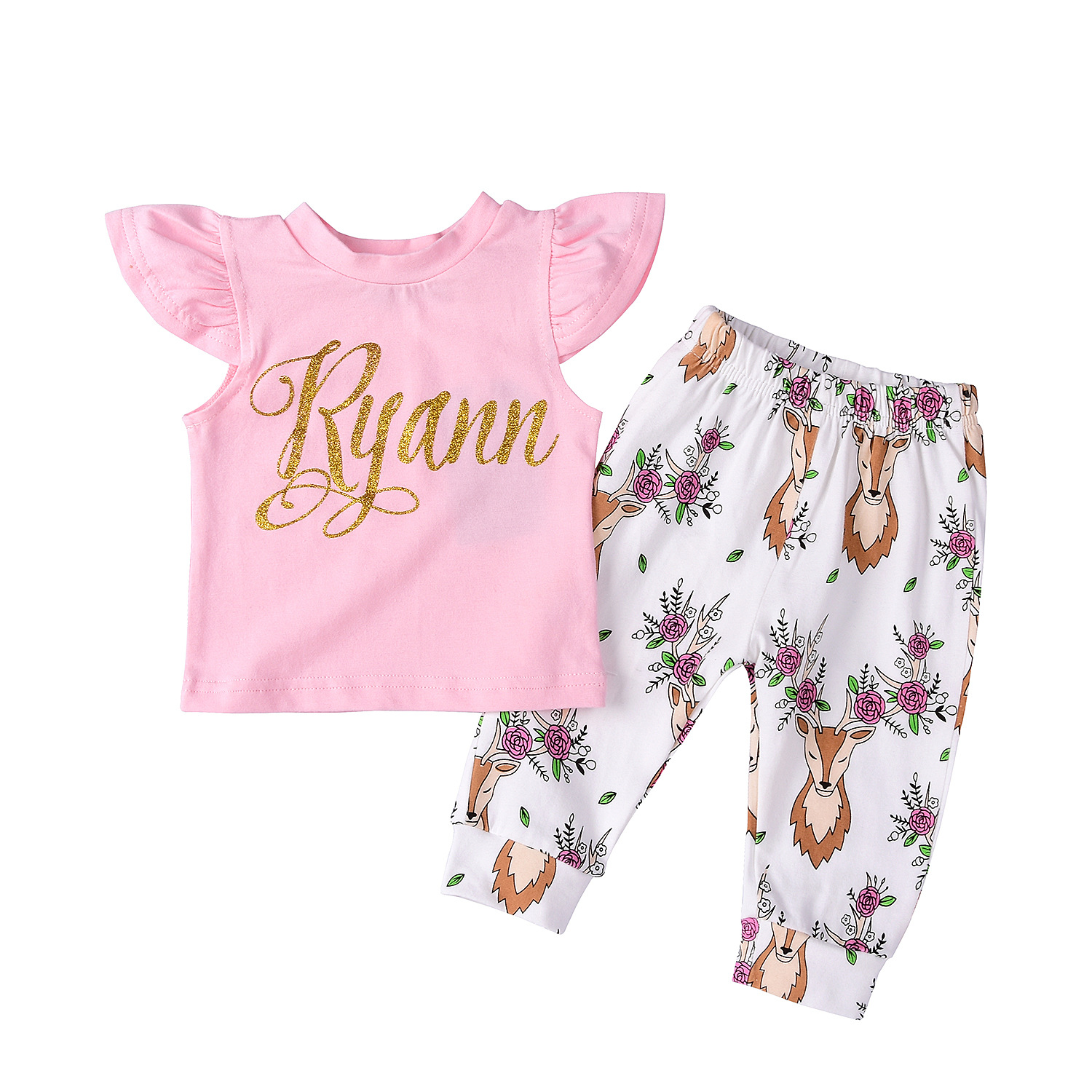 2018 New Summer Children Clothes Suits Baby Girl Ruffled Top With Animal Pants Clothing Suits