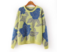 O-neck women winter pullover warm flower jacquard sweater