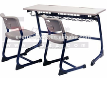 Guangzhou wholesale Best High school furniture Double desk and Chair for student