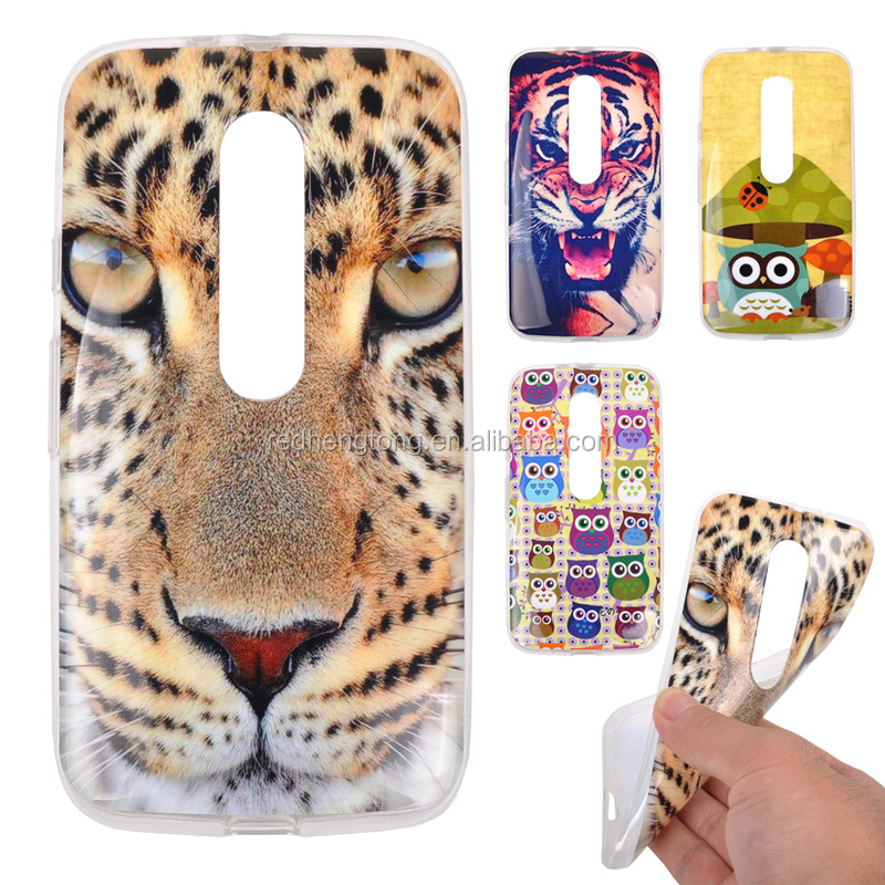 Animal Tiger printing soft tpu back case for moto g3