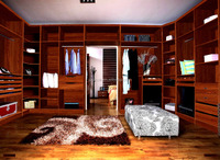 Bedroom wood wardrobe with louvered doors