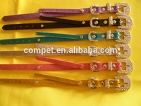 Wholesale Dog Collars and Leashes, Rhinestone Fancy Buckle dog collars with Pearlescent shinning finish Pu Leather Material