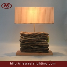 Willow craft matched ash wooden and ribbon top quality cube shade table lamp
