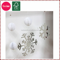 paper honeycomb hanging snowflake decoration as stage decoration for christmas