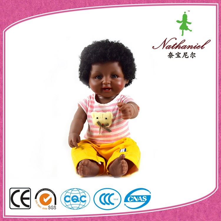 Good looking Cheap Plastic African Black Baby Doll with Lovely Clothes China Factory Wholesale