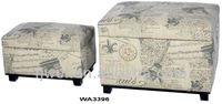 Factory Direct Sale Paris Eiffel Tower Theme Jute Shoe Storage Ottoman Trunks