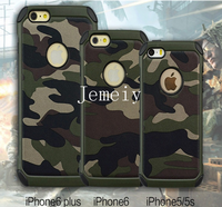 Hot Selling Shockproof Back Mobole Shell For iPhone 5S 6 Slim Armor Hybrid Camouflage Pattern PC +TPU Case For iPhone 5 6 6plus