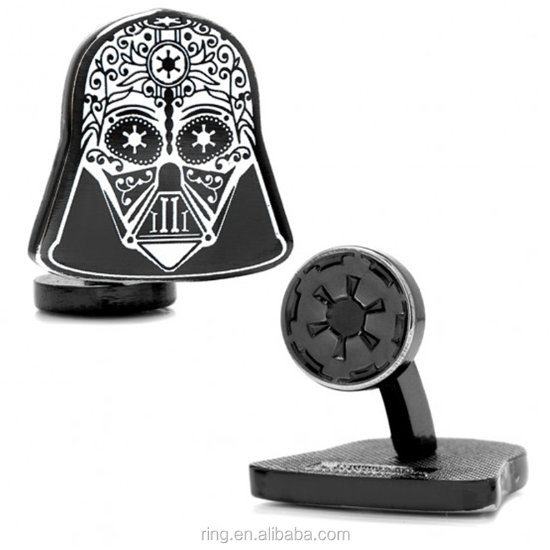 Souvenir Trendy Gunmetal plated Alloy Darth Vader Sugar Skull Cufflinks For Men Cinemagoer