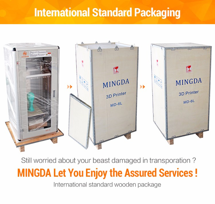 High Quality MINGDA MD-6L 3D Printer Machine for Sale , Plastic 3D Printing Filament ABS PLA Printer in China