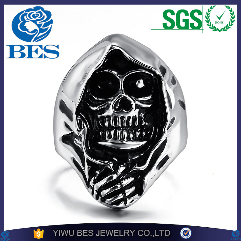 Retro Gothic Style Biker Motorcycle Skull Ring Big Huge Ghost Skull Ring 316L Stainless Steel Men Boys Polishing Biker Ring